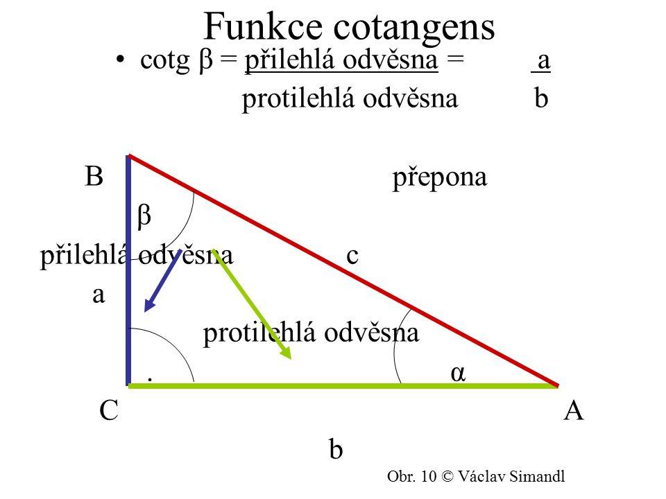 cotg β = přilehlá odvěsna = a