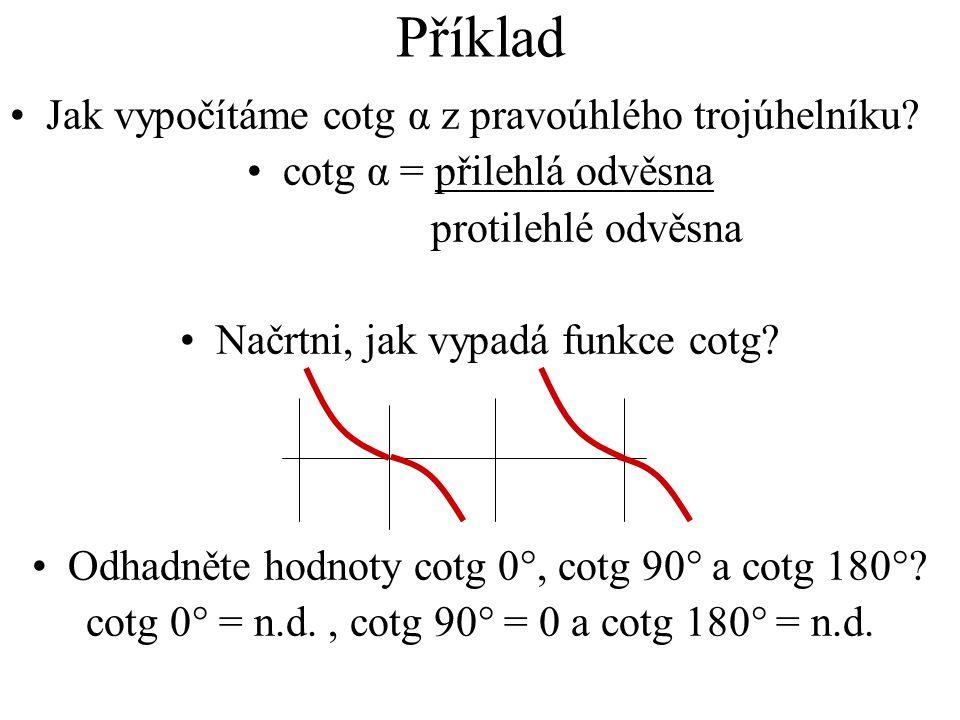 Příklad Jak vypočítáme cotg α z pravoúhlého trojúhelníku