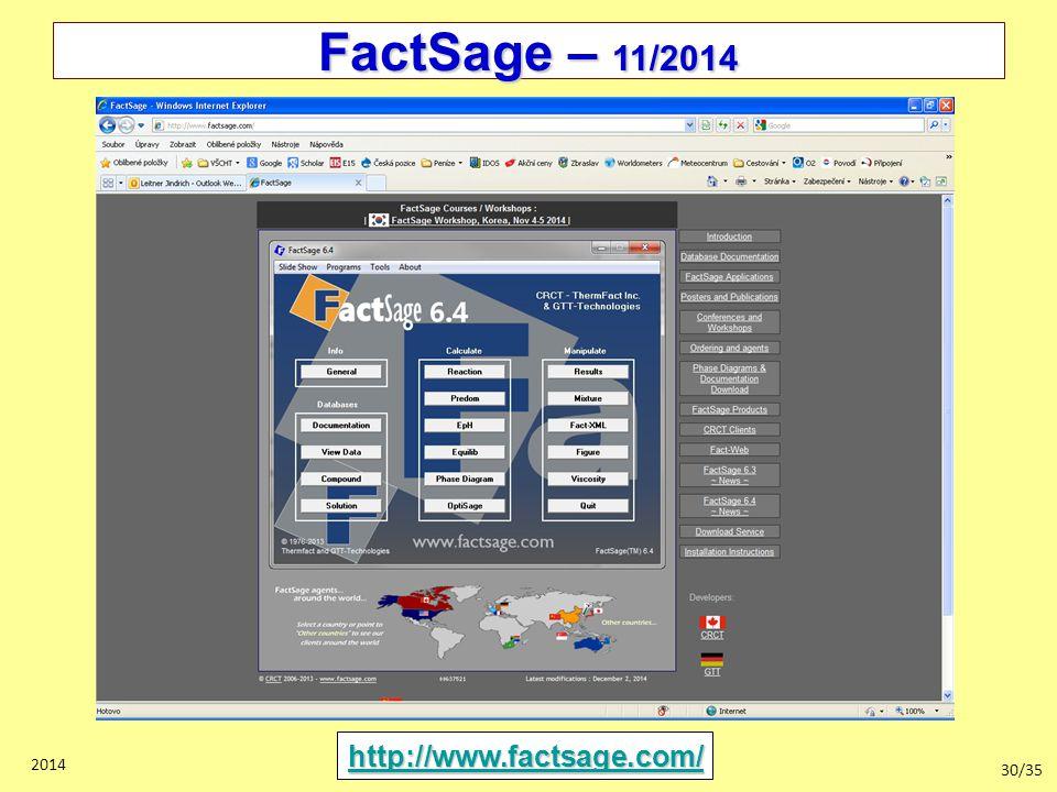 FactSage – 11/2014 http://www.factsage.com/ 2014