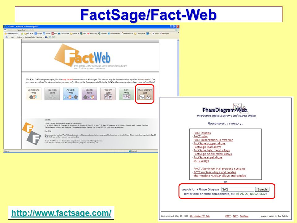 FactSage/Fact-Web http://www.factsage.com/ 2014