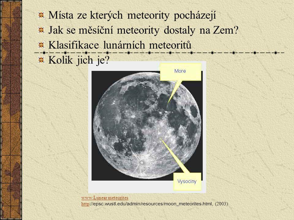 Místa ze kterých meteority pocházejí