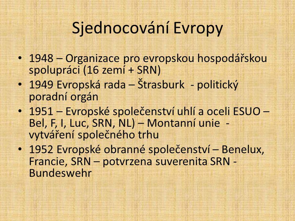 Sjednocování Evropy 1948 – Organizace pro evropskou hospodářskou spolupráci (16 zemí + SRN)