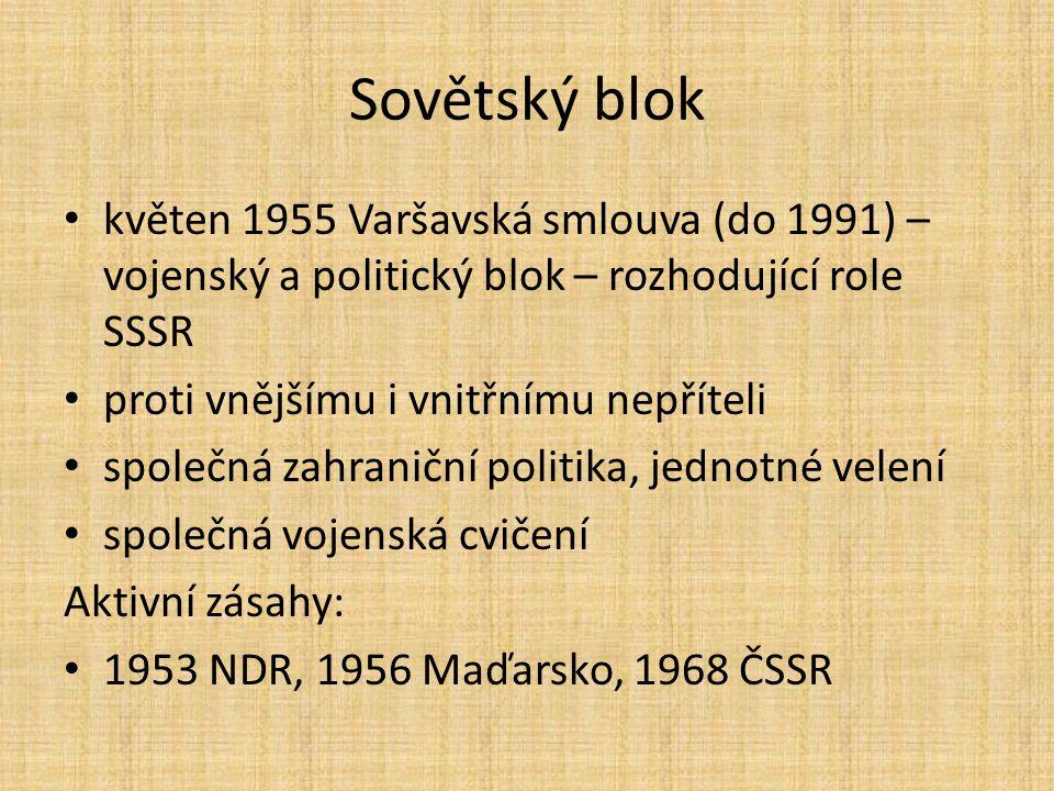 Sovětský blok květen 1955 Varšavská smlouva (do 1991) – vojenský a politický blok – rozhodující role SSSR.