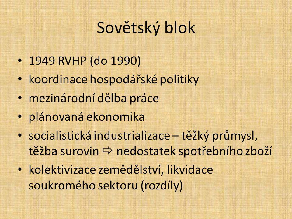 Sovětský blok 1949 RVHP (do 1990) koordinace hospodářské politiky