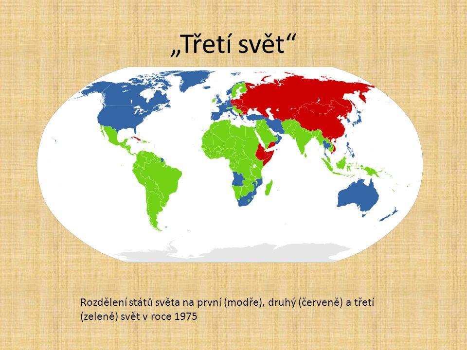 """""""Třetí svět Rozdělení států světa na první (modře), druhý (červeně) a třetí (zeleně) svět v roce 1975."""
