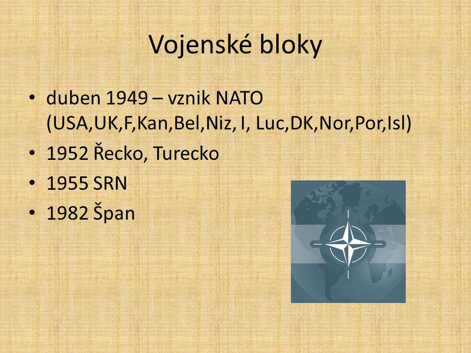 Vojenské bloky duben 1949 – vznik NATO (USA,UK,F,Kan,Bel,Niz, I, Luc,DK,Nor,Por,Isl) 1952 Řecko, Turecko.