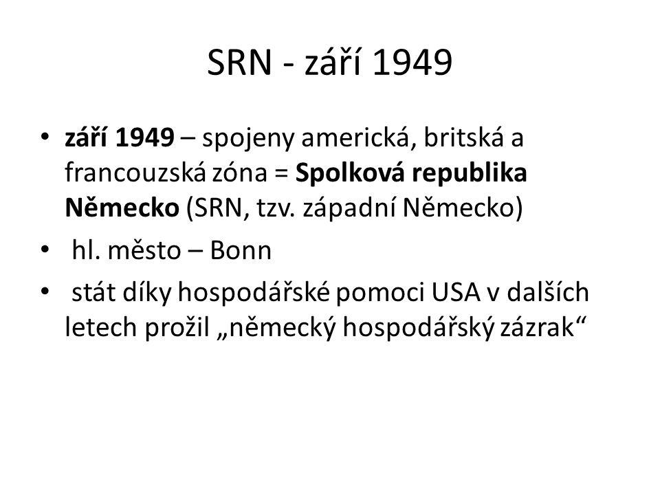 SRN - září 1949 září 1949 – spojeny americká, britská a francouzská zóna = Spolková republika Německo (SRN, tzv. západní Německo)