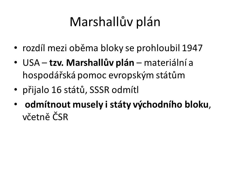 Marshallův plán rozdíl mezi oběma bloky se prohloubil 1947