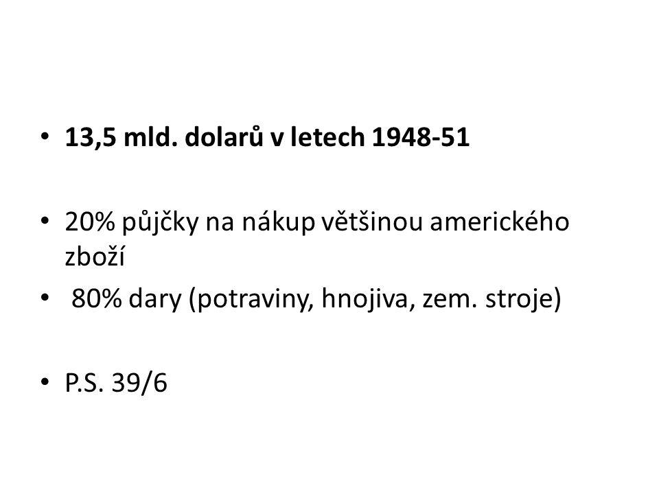 13,5 mld. dolarů v letech 1948-51 20% půjčky na nákup většinou amerického zboží. 80% dary (potraviny, hnojiva, zem. stroje)