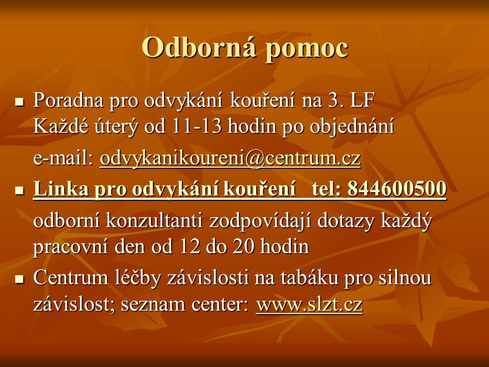 Odborná pomoc Poradna pro odvykání kouření na 3. LF Každé úterý od 11-13 hodin po objednání. e-mail: odvykanikoureni@centrum.cz.