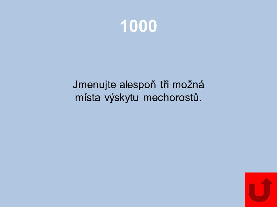 1000 Jmenujte alespoň tři možná místa výskytu mechorostů.