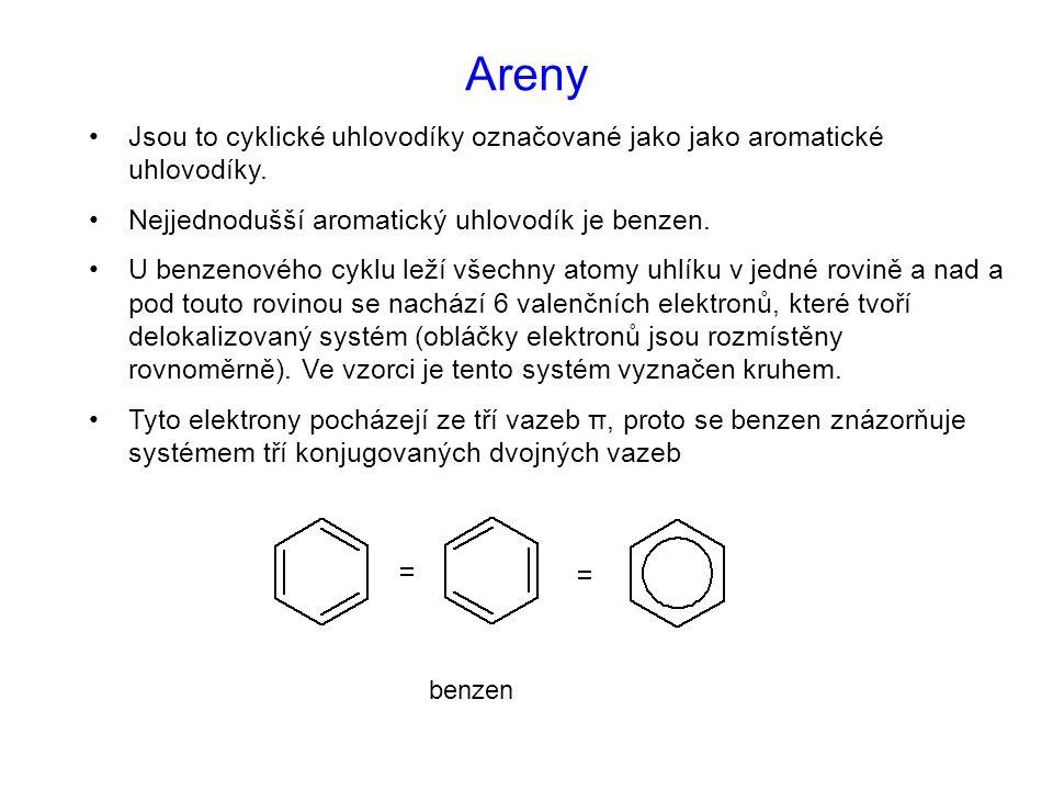 Areny Jsou to cyklické uhlovodíky označované jako jako aromatické uhlovodíky. Nejjednodušší aromatický uhlovodík je benzen.
