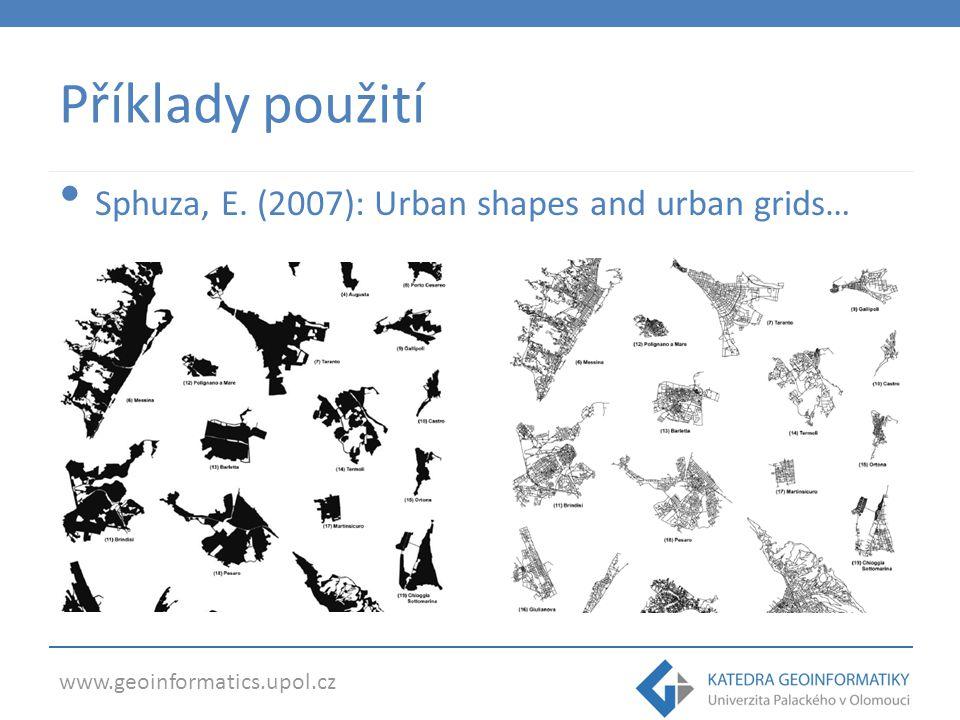 Příklady použití Sphuza, E. (2007): Urban shapes and urban grids…