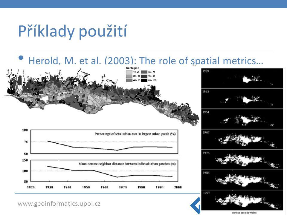 Příklady použití Herold, M. et al. (2003): The role of spatial metrics…