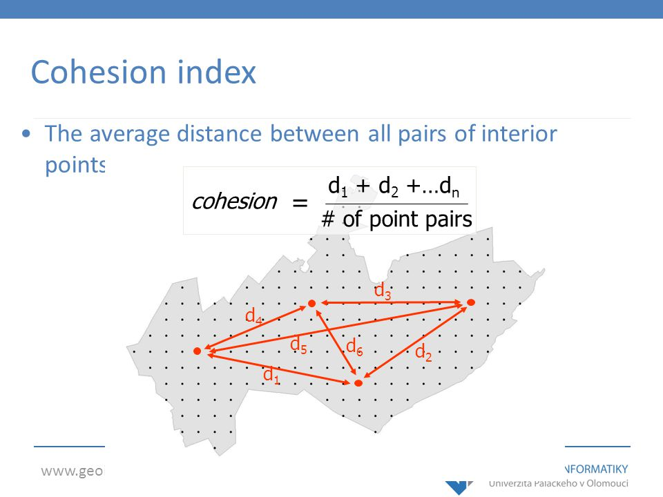 Cohesion index The average distance between all pairs of interior points. cohesion. d1 + d2 +…dn.
