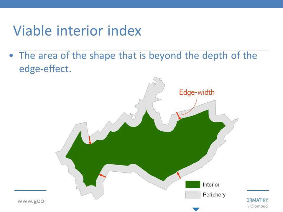 Viable interior index The area of the shape that is beyond the depth of the edge-effect. Edge-width.