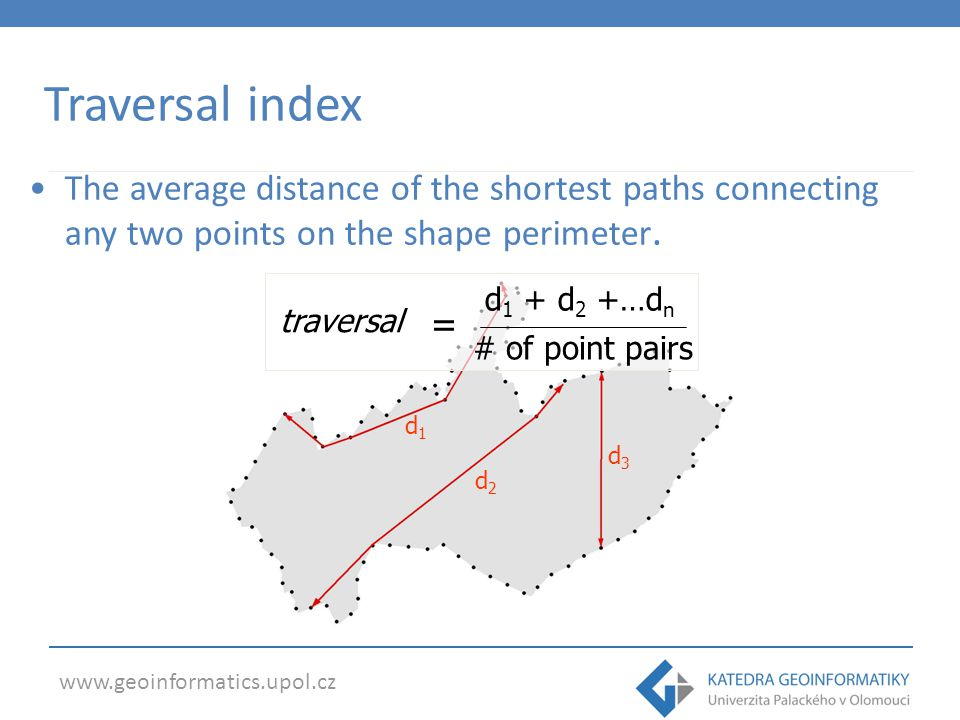 Traversal index The average distance of the shortest paths connecting any two points on the shape perimeter.