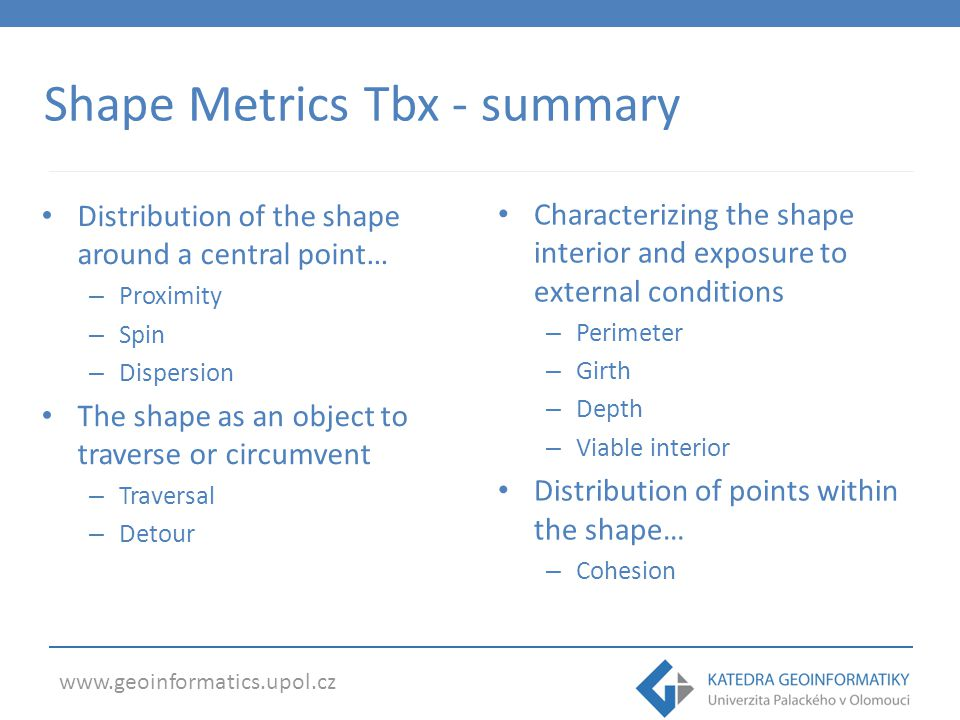Shape Metrics Tbx - summary