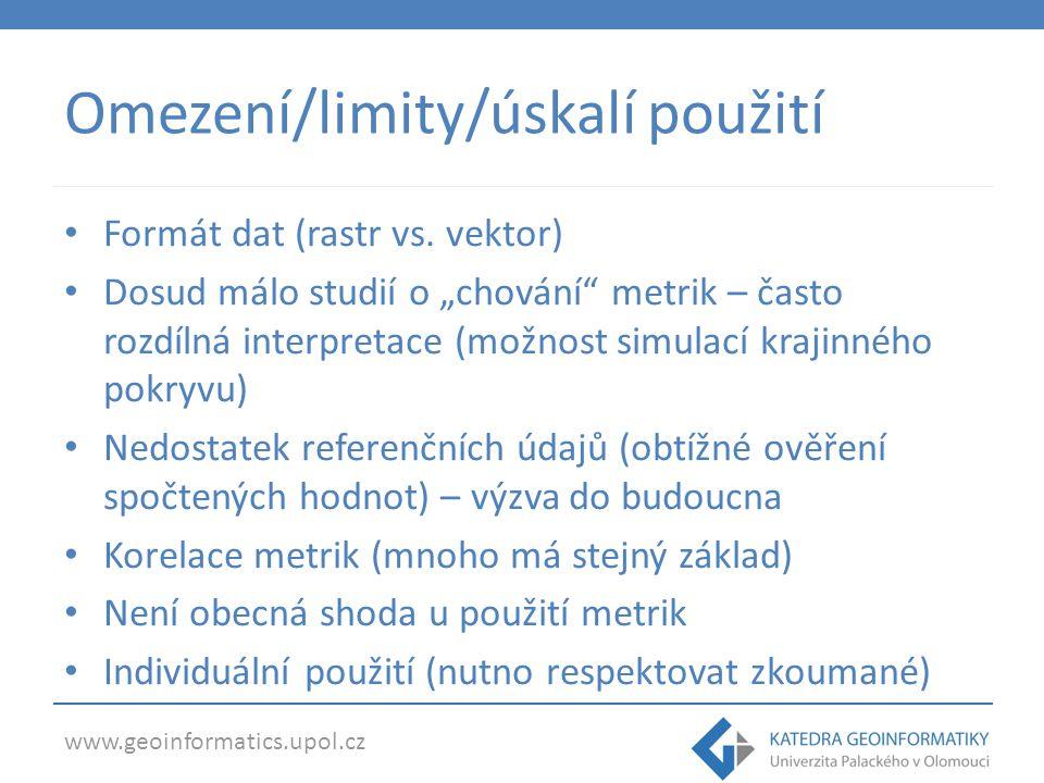 Omezení/limity/úskalí použití