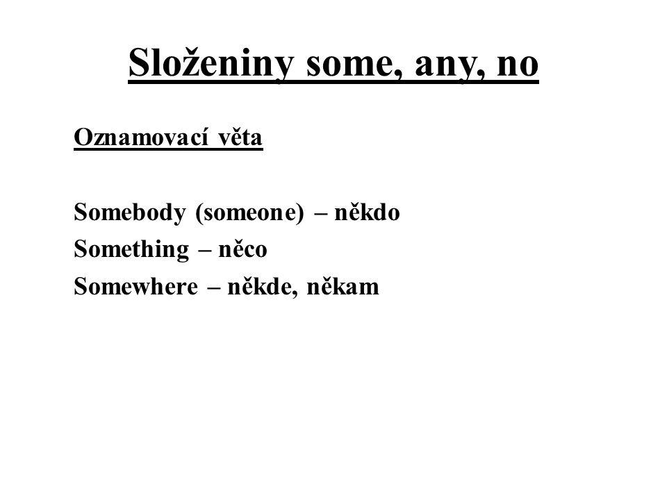 Složeniny some, any, no Oznamovací věta Somebody (someone) – někdo Something – něco Somewhere – někde, někam