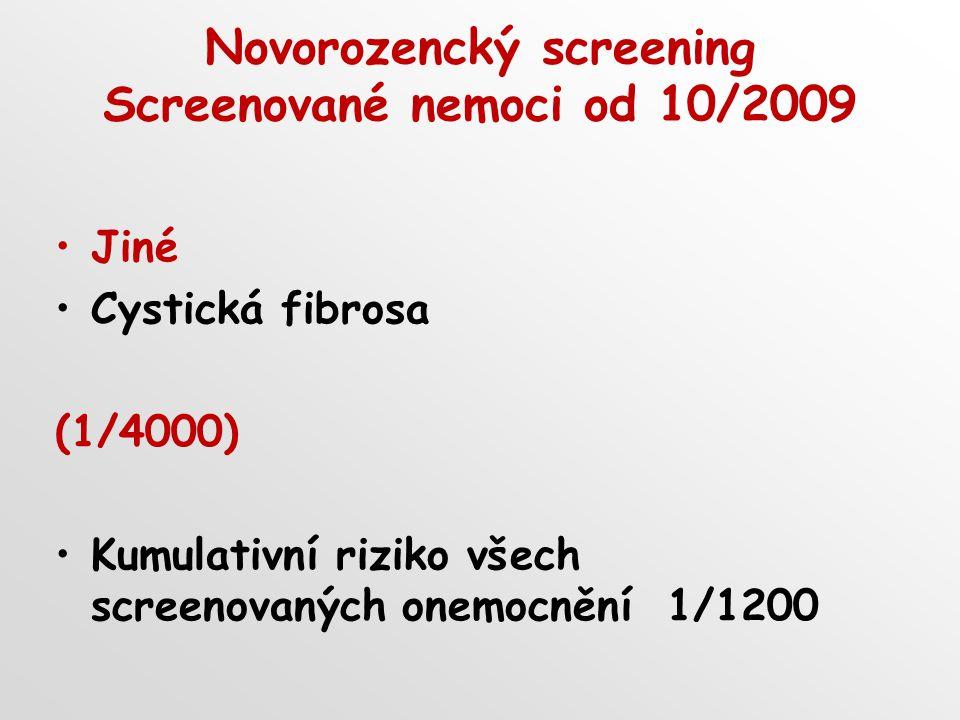 Novorozencký screening Screenované nemoci od 10/2009