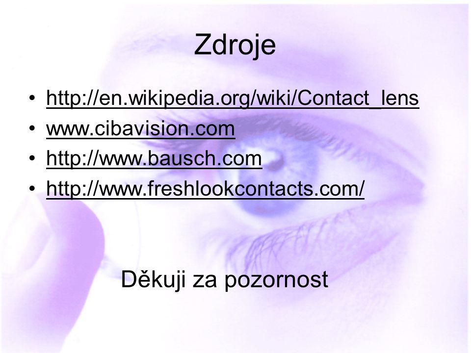 Zdroje Děkuji za pozornost http://en.wikipedia.org/wiki/Contact_lens