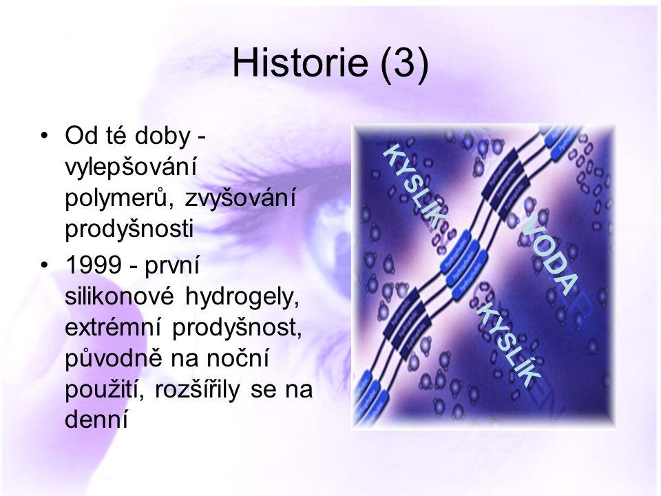 Historie (3) Od té doby - vylepšování polymerů, zvyšování prodyšnosti.