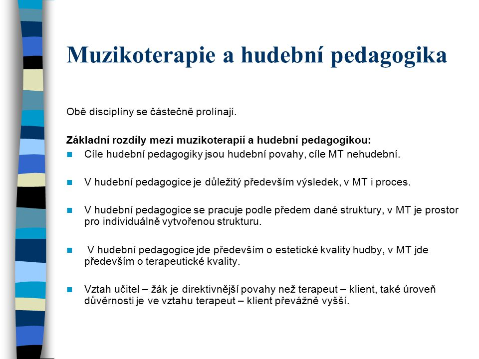 Muzikoterapie a hudební pedagogika