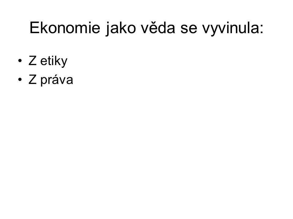 Ekonomie jako věda se vyvinula: