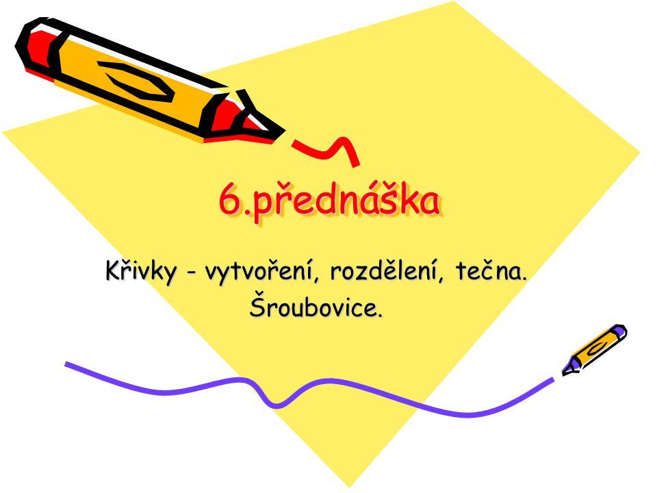 Křivky - vytvoření, rozdělení, tečna. Šroubovice.