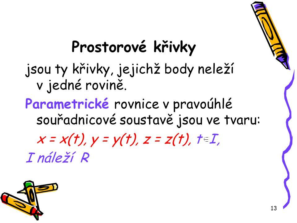 Prostorové křivky jsou ty křivky, jejichž body neleží v jedné rovině.