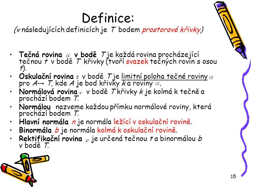 Definice: (v následujících definicích je T bodem prostorové křivky)