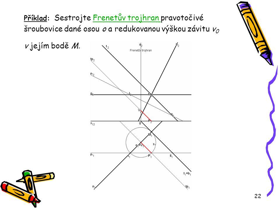 Příklad: Sestrojte Frenetův trojhran pravotočivé šroubovice dané osou o a redukovanou výškou závitu v0 v jejím bodě M.