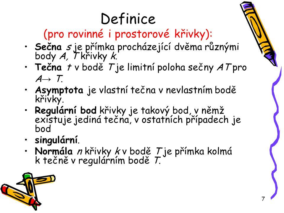 Definice (pro rovinné i prostorové křivky):
