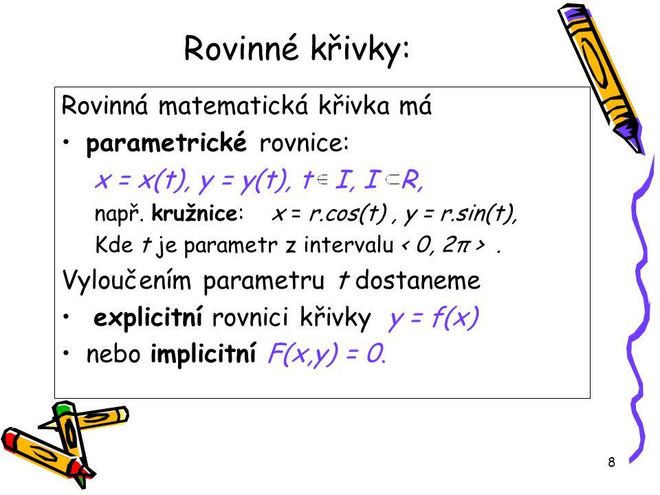 Rovinné křivky: Rovinná matematická křivka má parametrické rovnice: