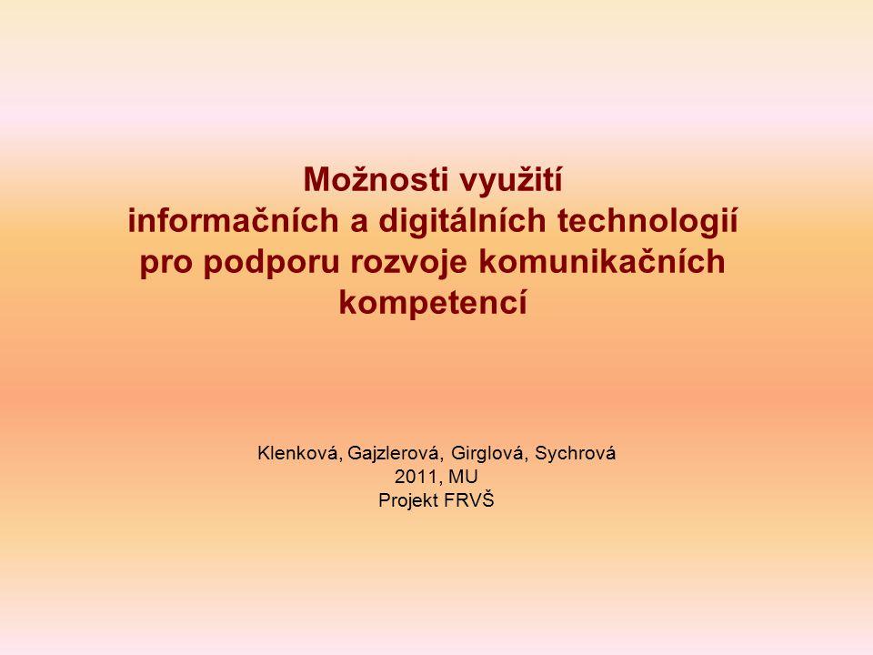 Klenková, Gajzlerová, Girglová, Sychrová 2011, MU Projekt FRVŠ
