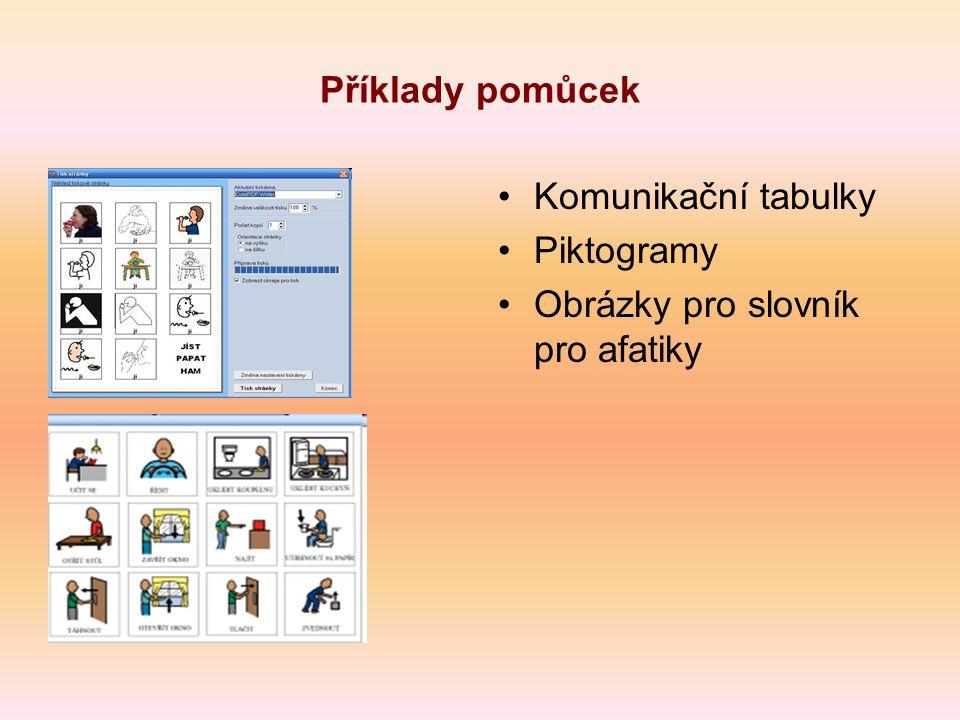 Příklady pomůcek Komunikační tabulky Piktogramy Obrázky pro slovník pro afatiky
