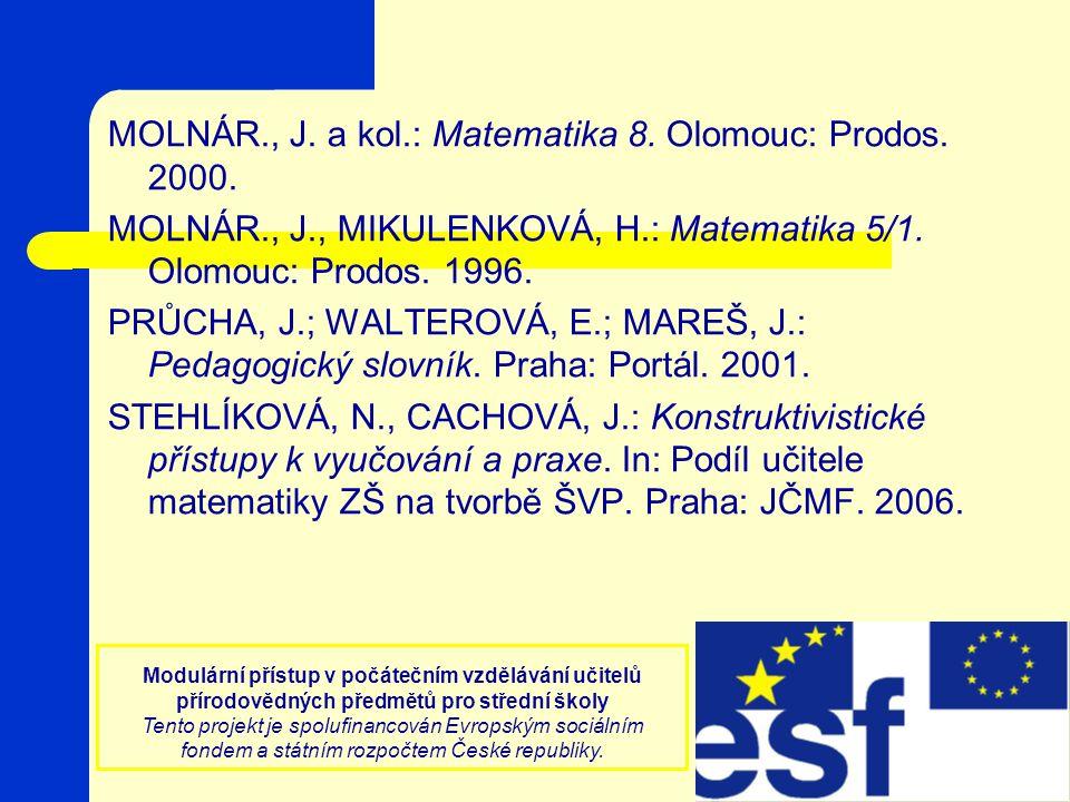 MOLNÁR., J. a kol.: Matematika 8. Olomouc: Prodos. 2000.