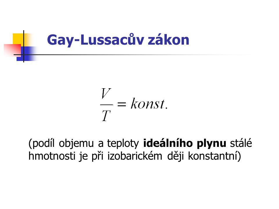 Gay-Lussacův zákon (podíl objemu a teploty ideálního plynu stálé hmotnosti je při izobarickém ději konstantní)