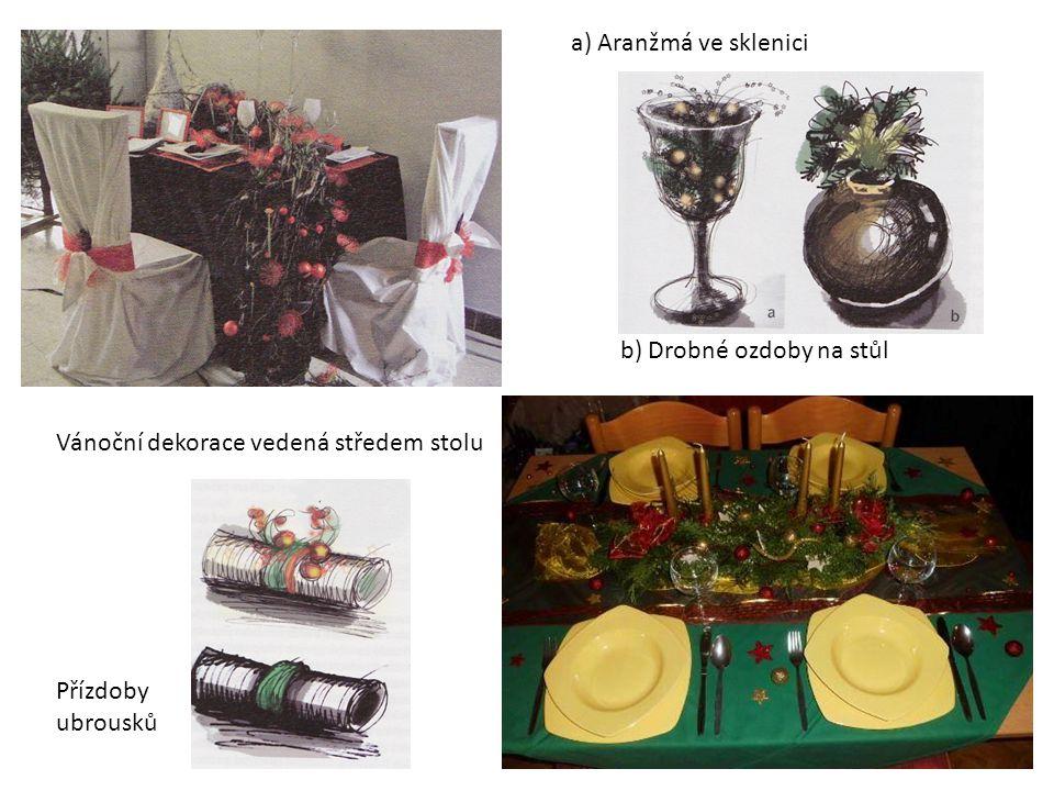 a) Aranžmá ve sklenici b) Drobné ozdoby na stůl. Vánoční dekorace vedená středem stolu.