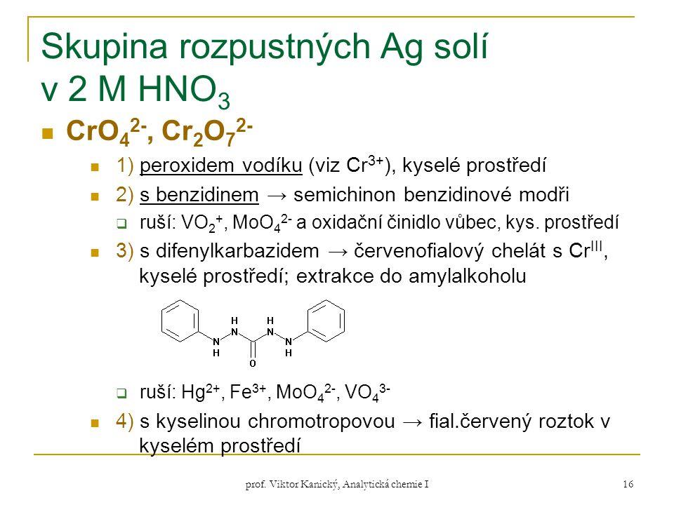 Skupina rozpustných Ag solí v 2 M HNO3