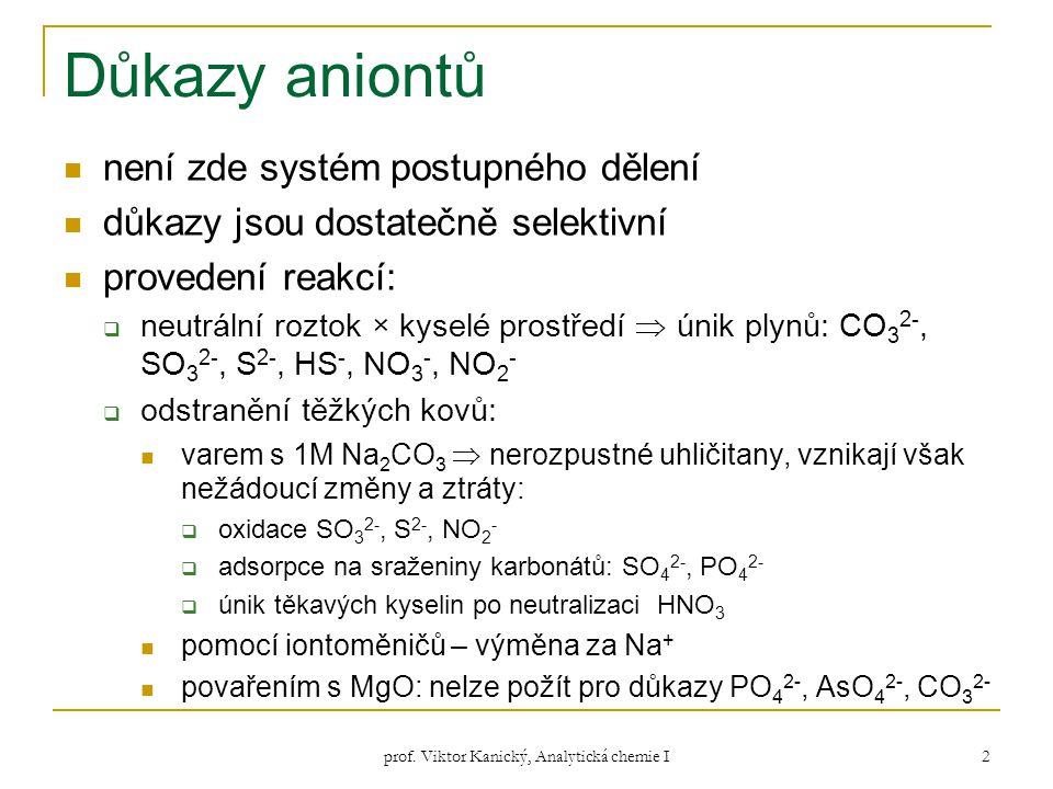 prof. Viktor Kanický, Analytická chemie I