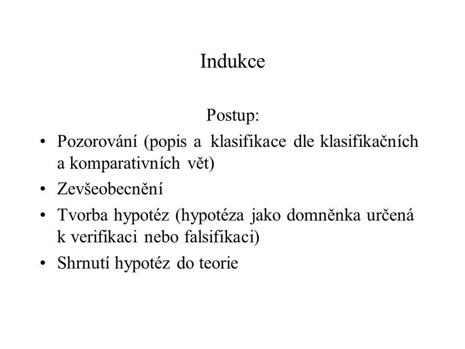 Indukce Postup: Pozorování (popis a klasifikace dle klasifikačních a komparativních vět) Zevšeobecnění.