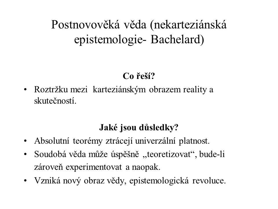 Postnovověká věda (nekarteziánská epistemologie- Bachelard)