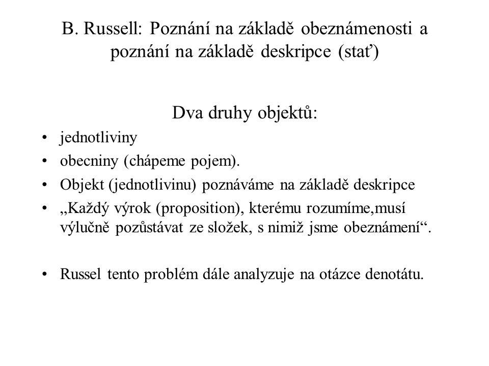 B. Russell: Poznání na základě obeznámenosti a poznání na základě deskripce (stať)