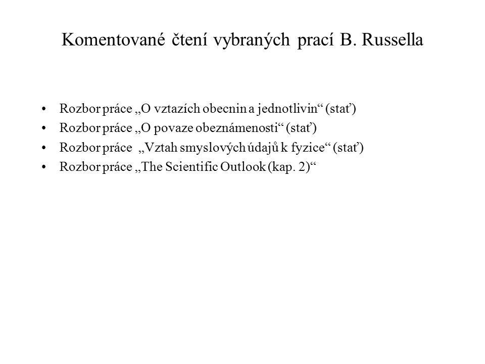 Komentované čtení vybraných prací B. Russella