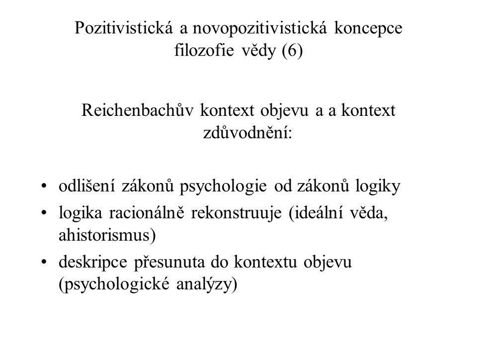 Pozitivistická a novopozitivistická koncepce filozofie vědy (6)