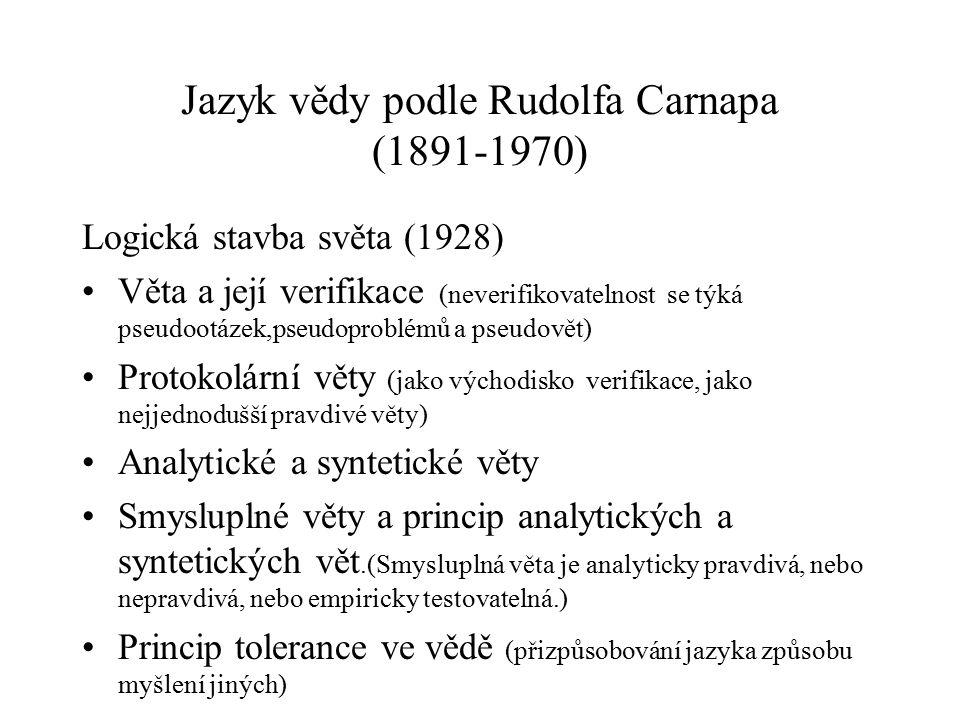 Jazyk vědy podle Rudolfa Carnapa (1891-1970)