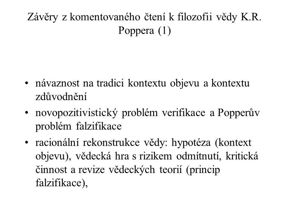 Závěry z komentovaného čtení k filozofii vědy K.R. Poppera (1)