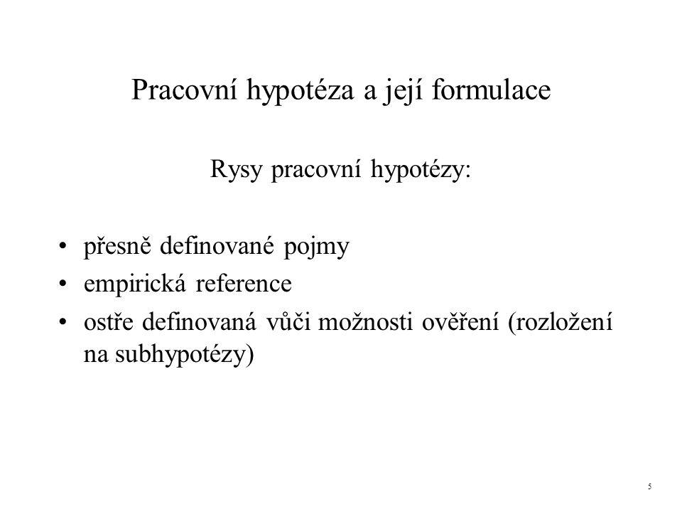 Pracovní hypotéza a její formulace